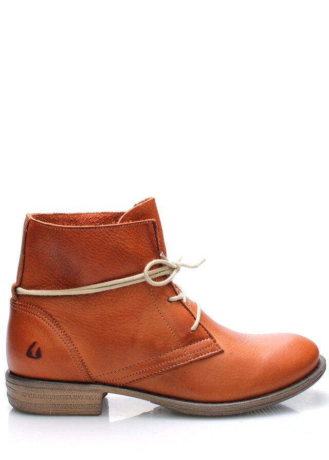 Hnědé kožené boty s tkaničkami Online Shoes