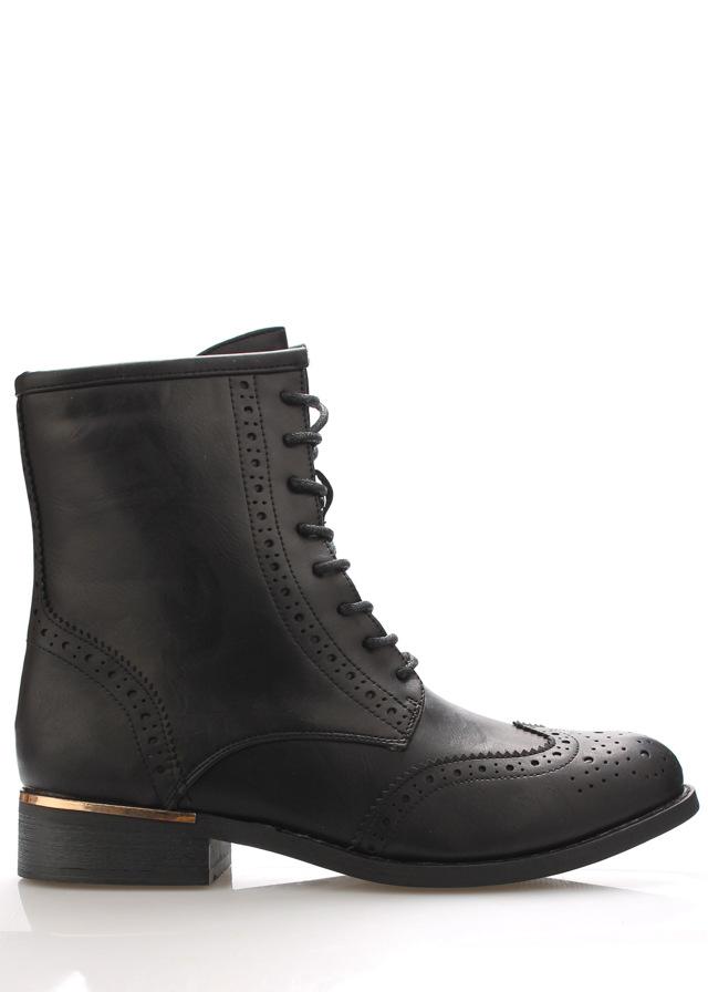 Černé broque boty se zlatým podpatkem Claudia Ghizzani