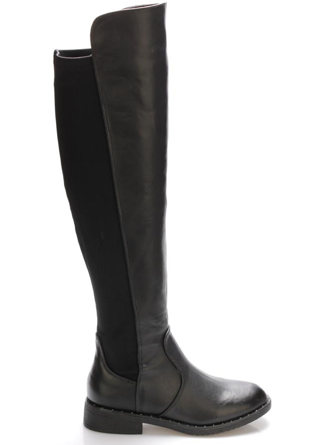 Černé elastické jezdecké kozačky Claudia Ghizzani