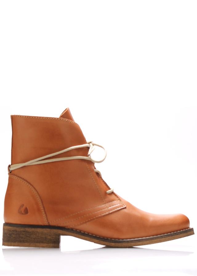Koňakově hnědé kožené šněrovací boty Online Shoes - 40
