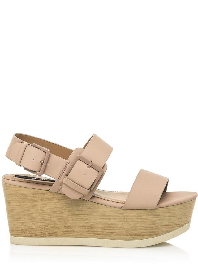 Tělové letní sandály na dřevěné platformě MTNG