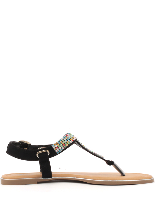 Černé sandálky s barevnými krystaly