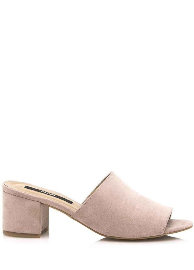 Béžové pantofle na podpatku MTNG