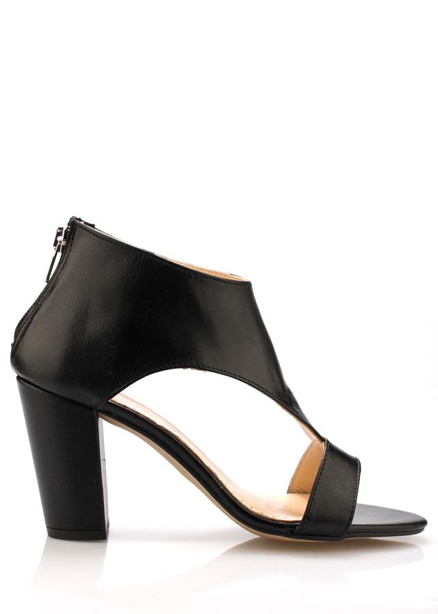 Černé kožené elegantní boty na podpatku Maria Jaén