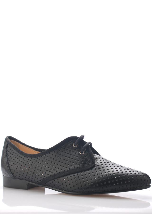 ffc3fcee7f6 Černé kožené děrované boty se špičkou Maria Jaén