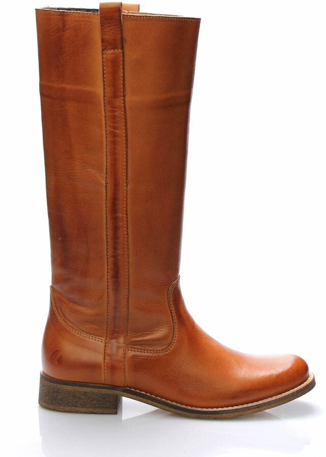 Hnědé kožené nižší kozačky Online Shoes