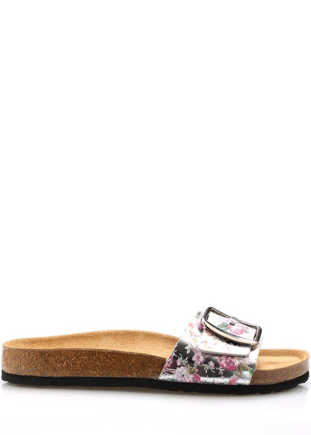 Květované nízké kožené zdravotní pantofle EMMA Shoes