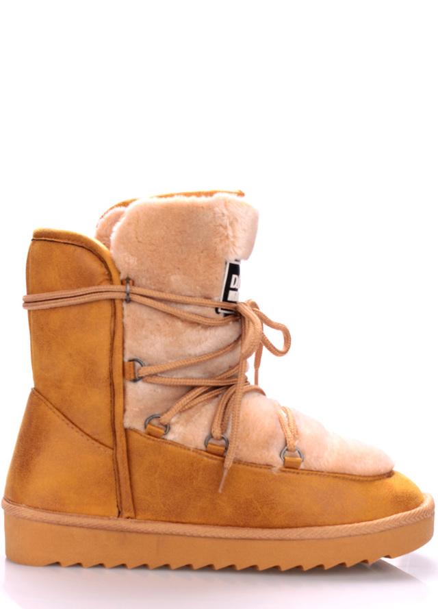 Béžové boty s kožíškem D.Franklin