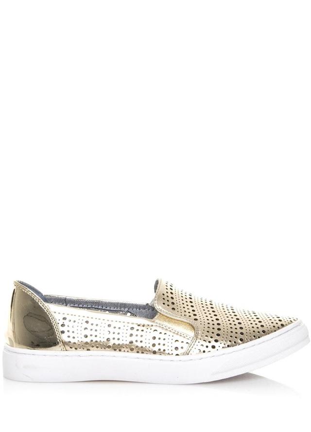 Zlaté perforované nazouvací boty Maria Mare
