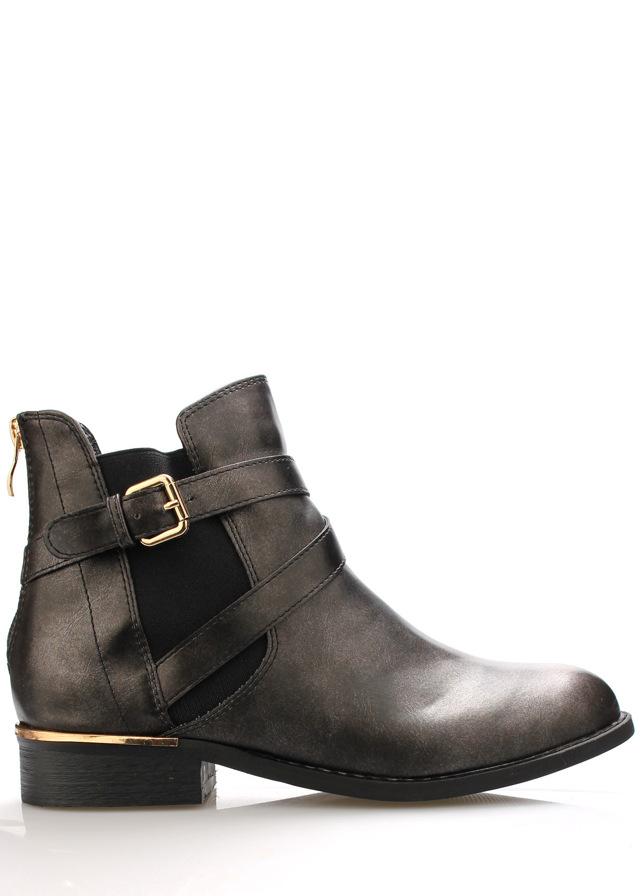Černé lesklé boty se zlatým podpatkem Claudia Ghizzani
