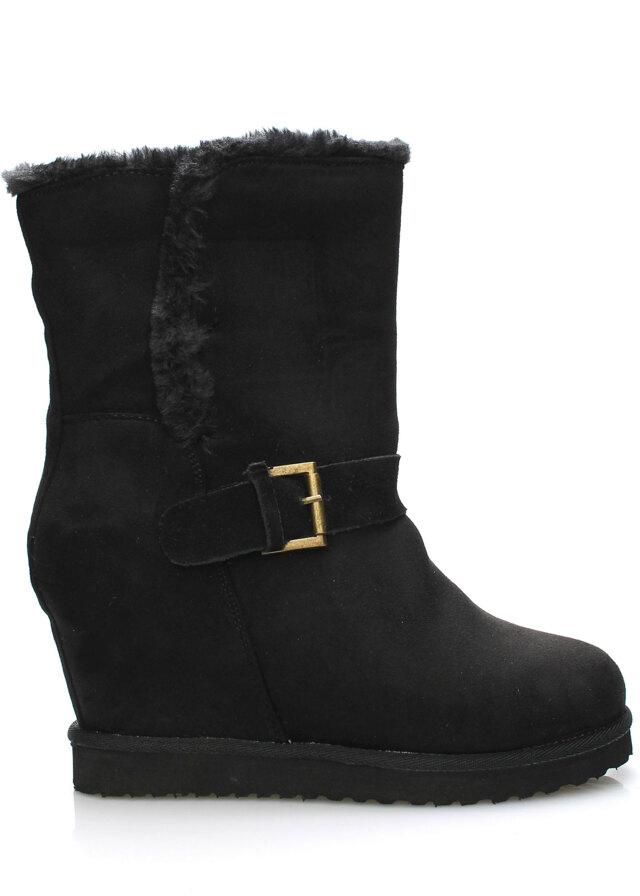 Černé zimní boty na klínku ANDY-Z