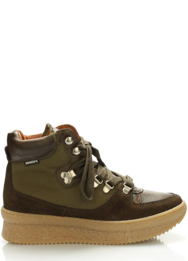 Tmavě zelené kožené boty Roobins - 42