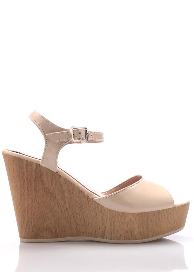 Béžové kožené sandály na klínku Maria Jaén - 40