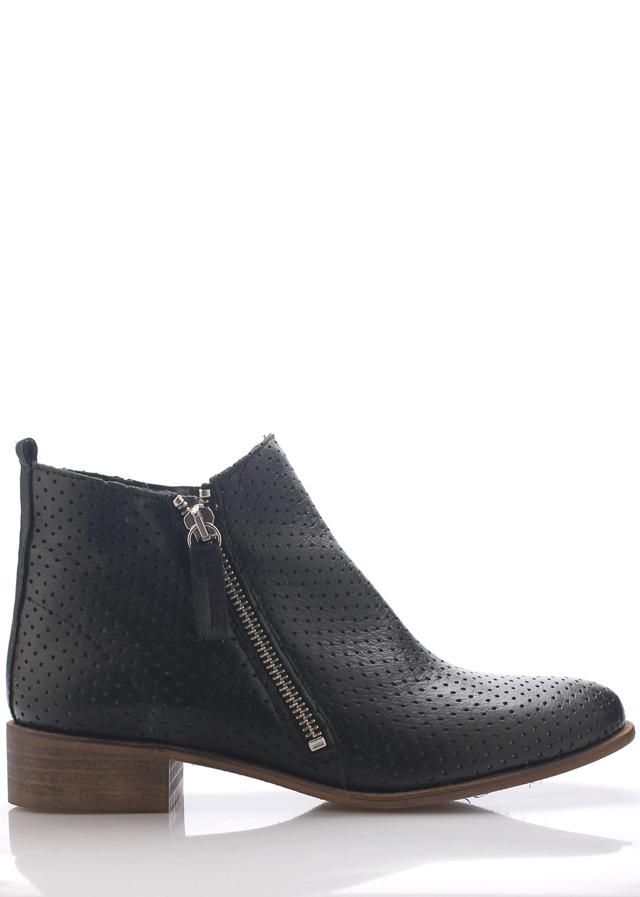 Černé kožené boty se zipem Maria Jaén - 37