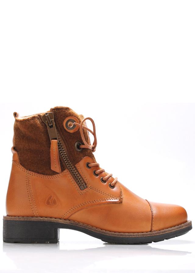 Hnědé kožené boty s kožíškem Online Shoes