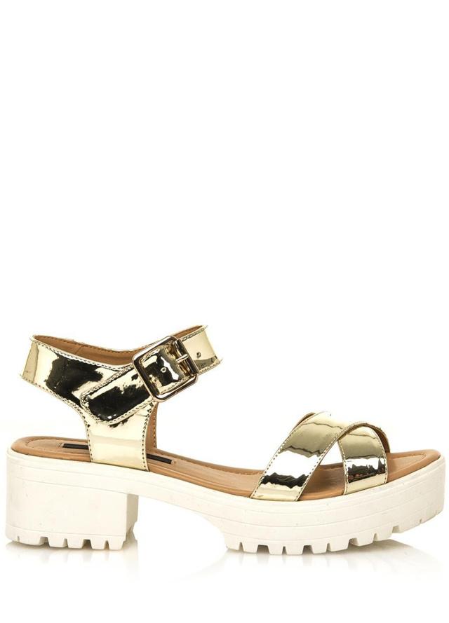 Zlaté sandály na rozdělené platformě MTNG