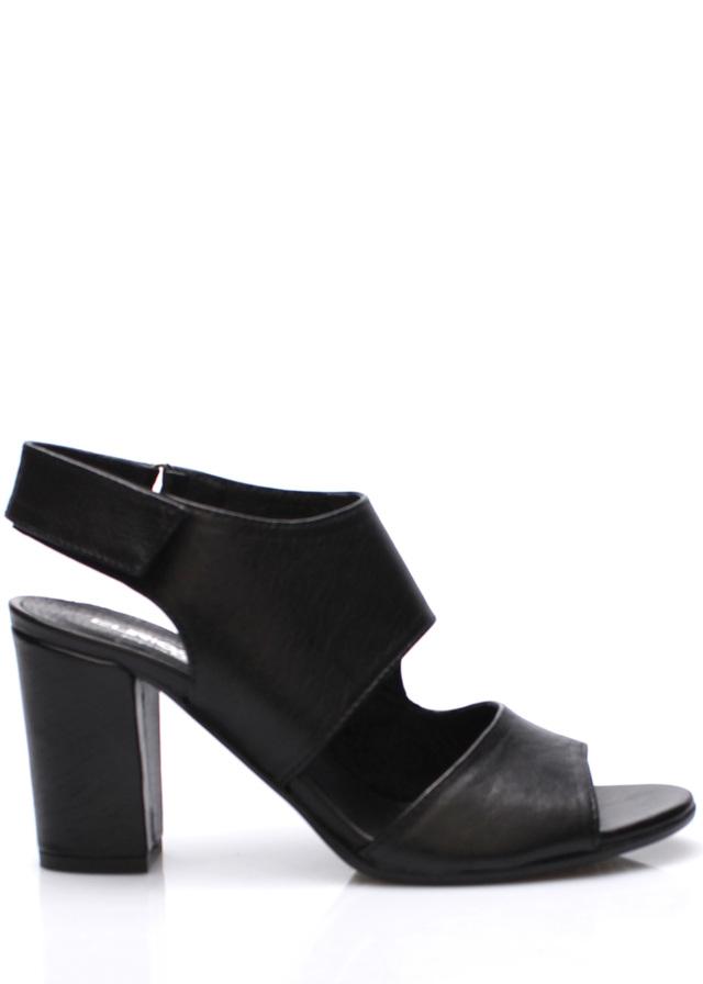 V&C Calzature Černé italské otevřené kožené boty na podpatku V&C - 36