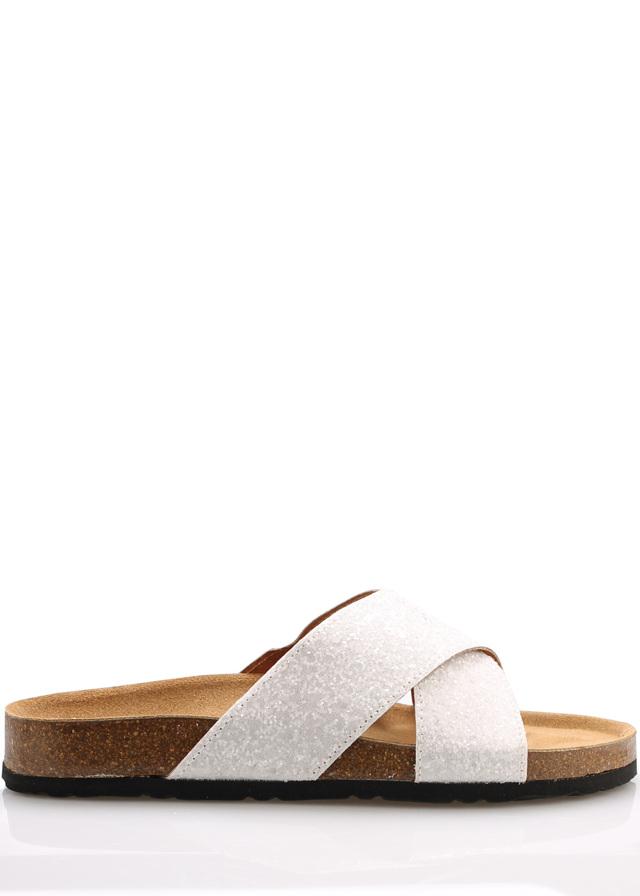 Bílé páskové kožené zdravotní pantofle EMMA Shoes - 41
