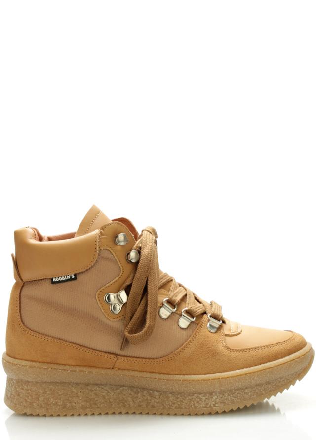Hnědé kožené boty Roobins - 42