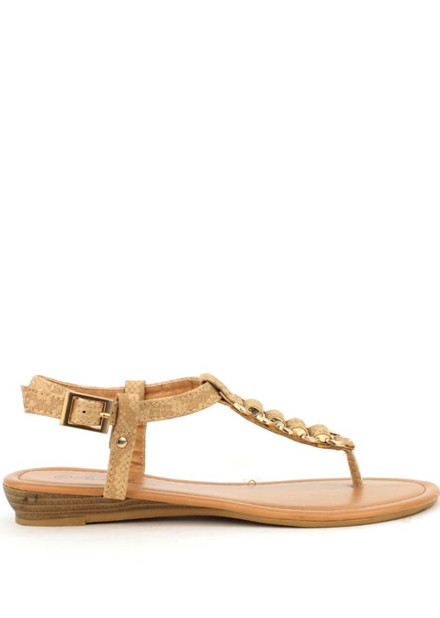 Sandále s hadím páskem Claudia Ghizzani béžové