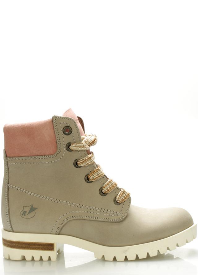 Šedé boty farmářky z pravé kůže s růžovým lemem Roobins