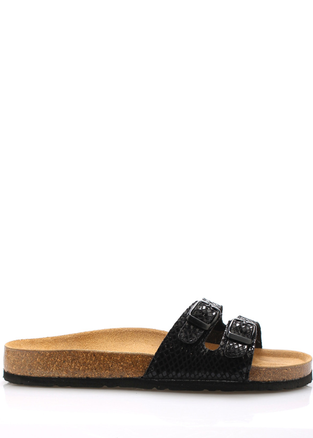 Černé nízké kožené zdravotní pantofle EMMA Shoes