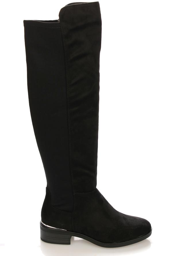 Černé elastické kozačky na podpatku Claudia Ghizzani - 38