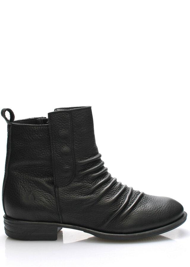 Černé kožené kotníkové boty Online Shoes