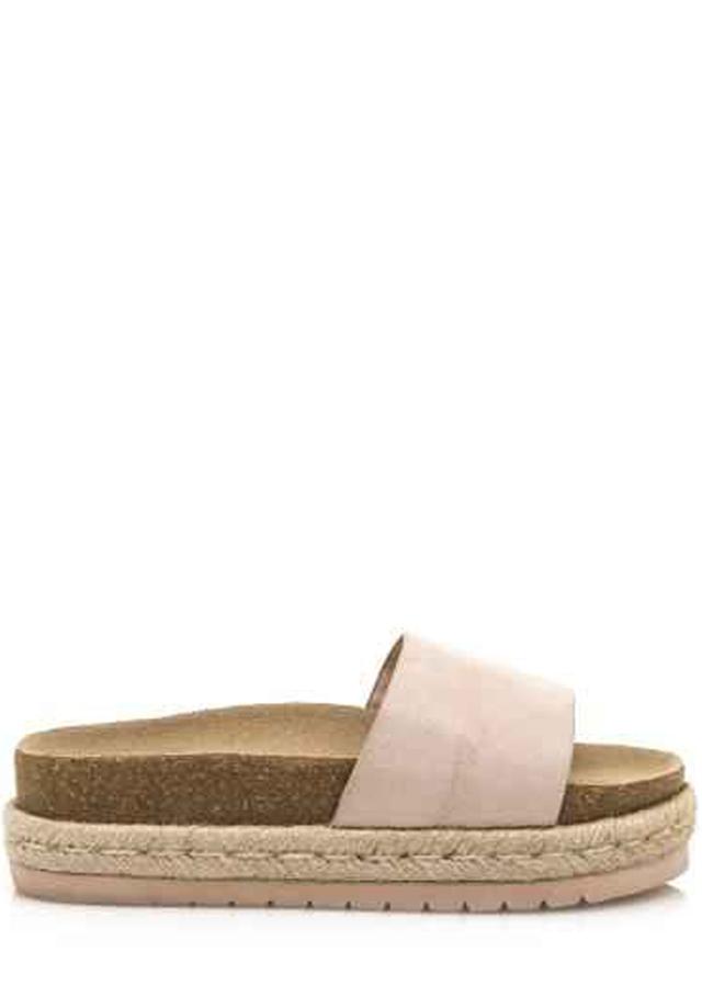 Béžové pantofle s espadrilovou podrážkou MTNG