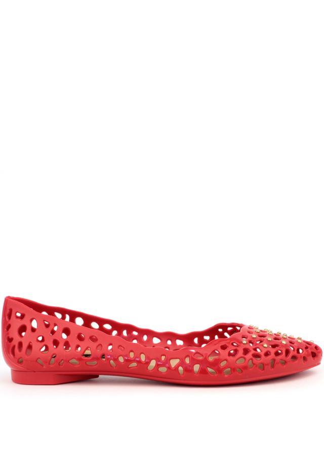 Červené děrované voňavé baleríny Terra & Aqua