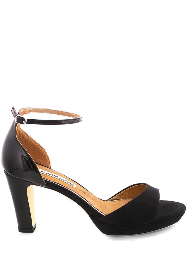 Černé sandály na podpatku s páskem MARIA MARE