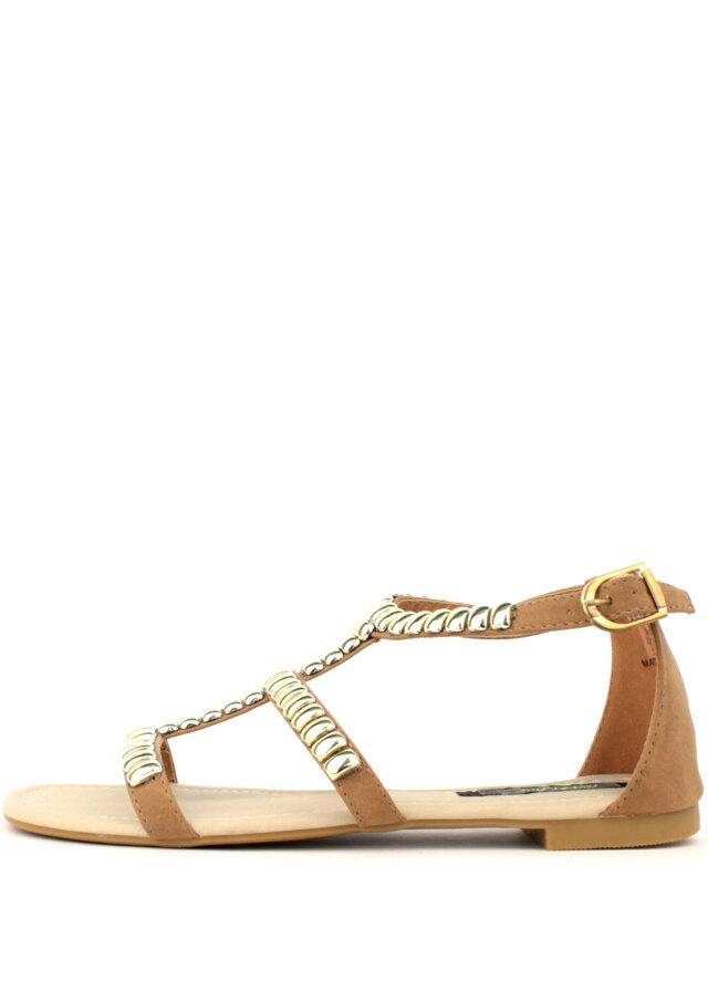 8d120b4936 Park Lane Shoes Béžové kožené sandály Park Lane se zlatými cvoky(4182) - 2