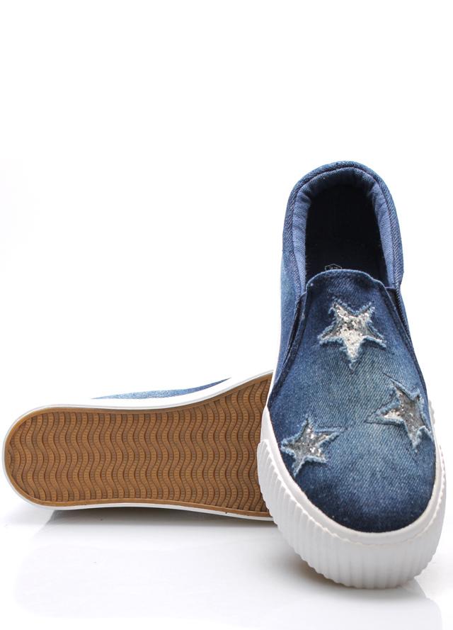 d22e553444 Tmavě modré jeansové nazouvací tenisky Claudia Ghizzani(395772) - 5