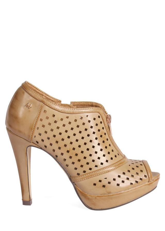 Hnědé děrované boty na podpatku MARIA MARE - 36