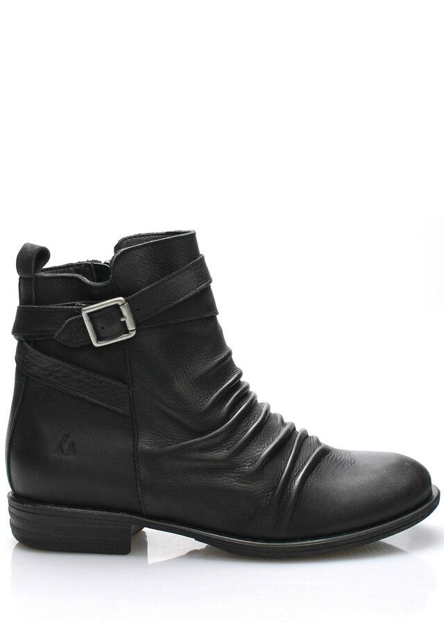 Černé kožené kotníkové boty s řemínkem Online Shoes - 37