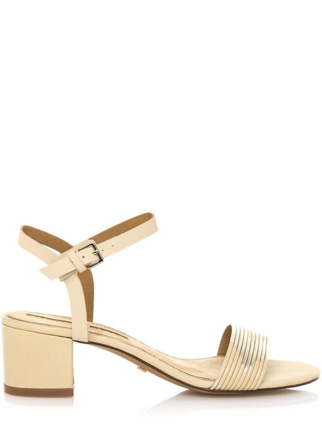 Zlaté sandály na širokém nízkém podpatku Maria Mare