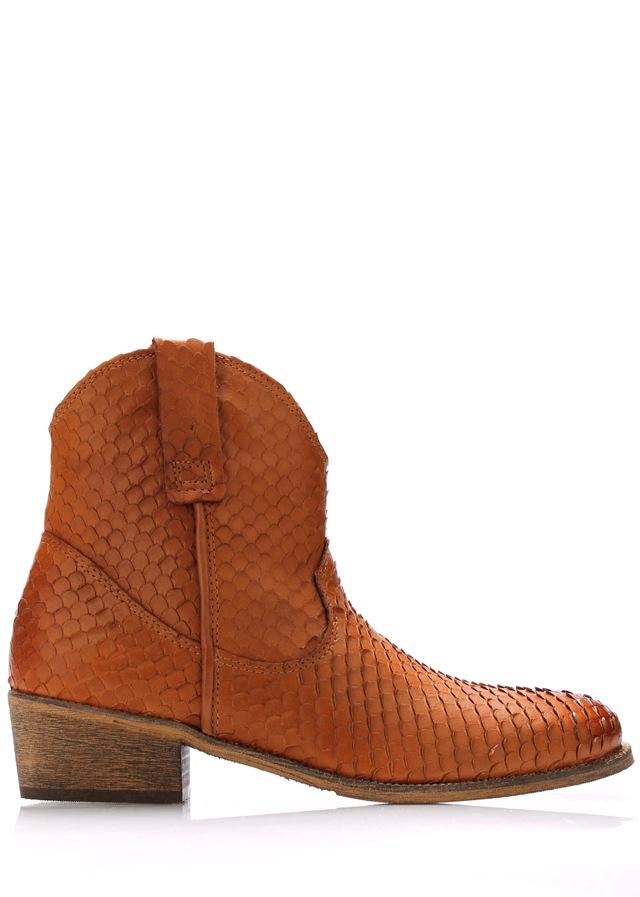 Hnědé kožené kovbojské boty Online Shoes