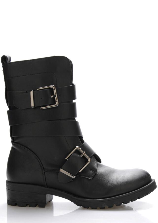 Černé pevné kotníkové boty Monshoe