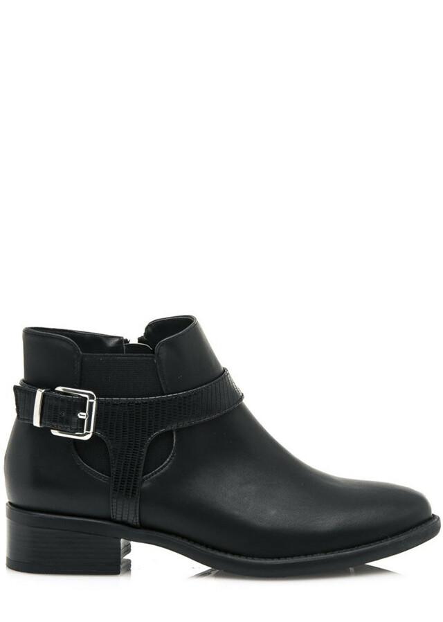 Černé kotníkové boty s řemínkem a vsadkou Maria Mare