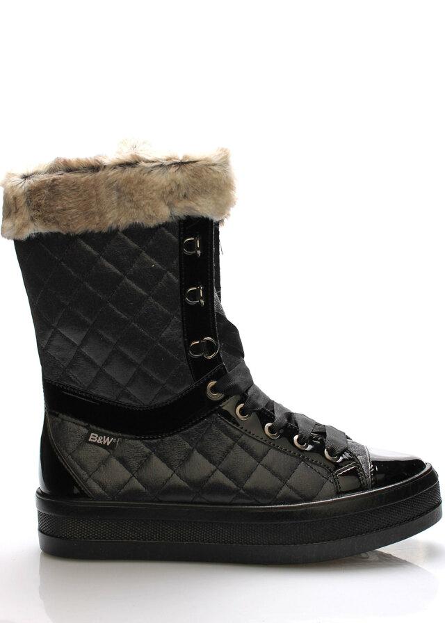 Černé elegantní sněhule s kožíškem Break&Walk - 39