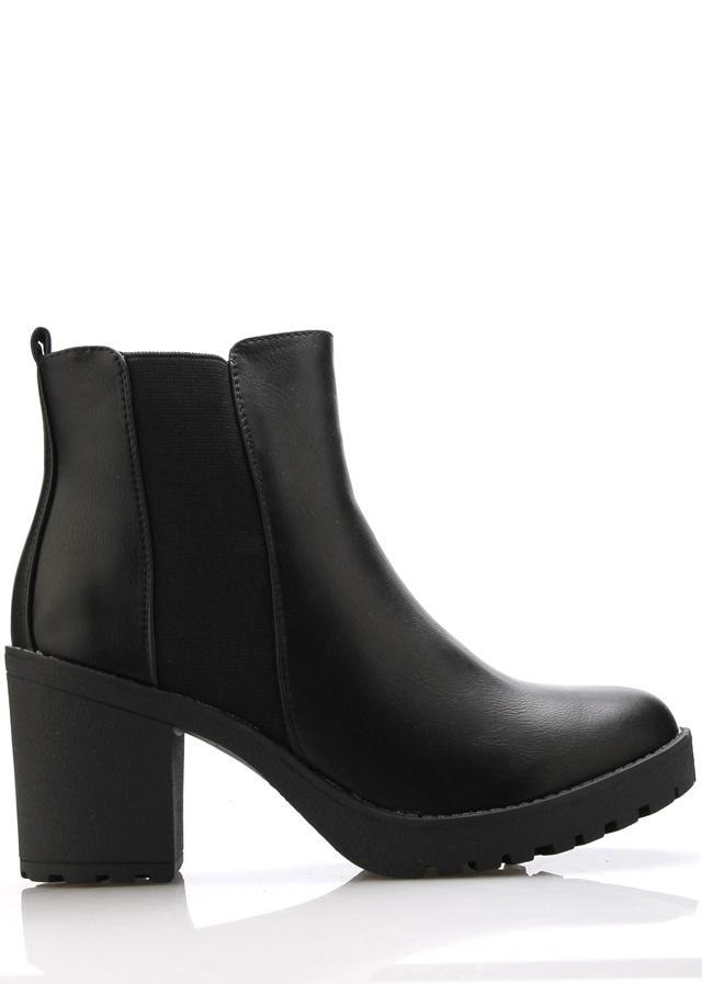 Černé boty na podpatku s elastickou částí Claudia Ghizzani