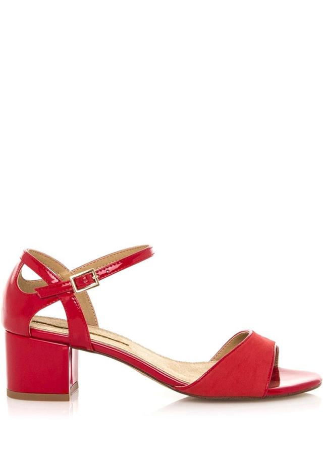 Červené sandály na širokém nízkém podpatku Maria Mare