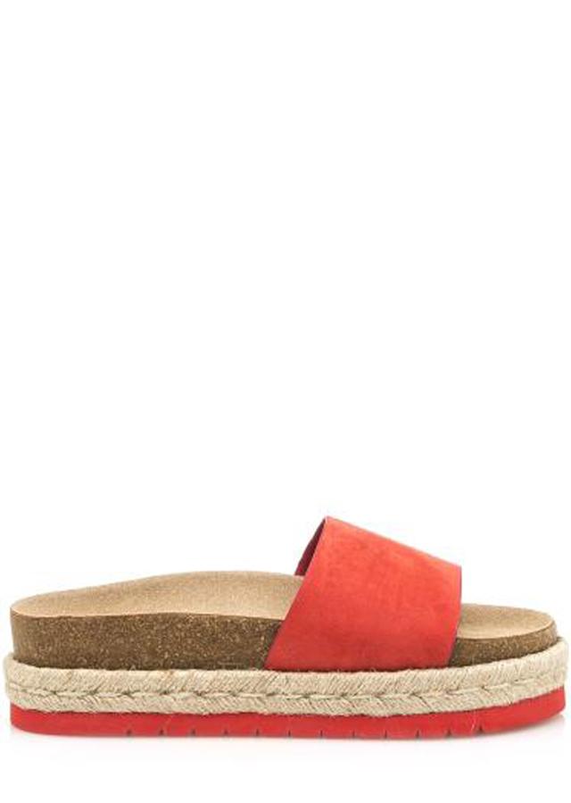 Červené pantofle s espadrilovou podrážkou MTNG