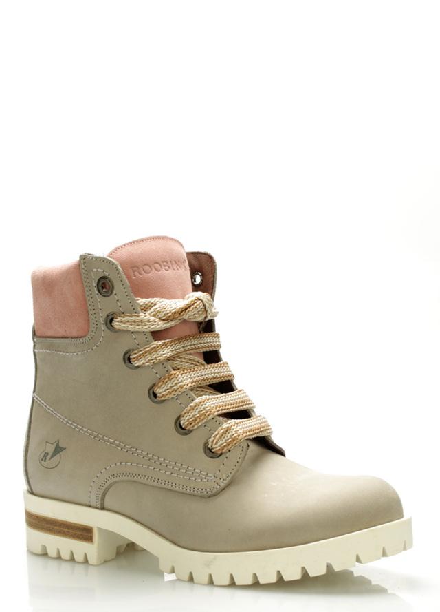 b637583aa2f Šedé boty farmářky z pravé kůže s růžovým lemem Roobins(506519) - 2