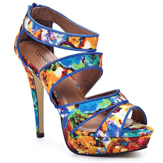 Modré sandálky na podpatku Timeless Oden