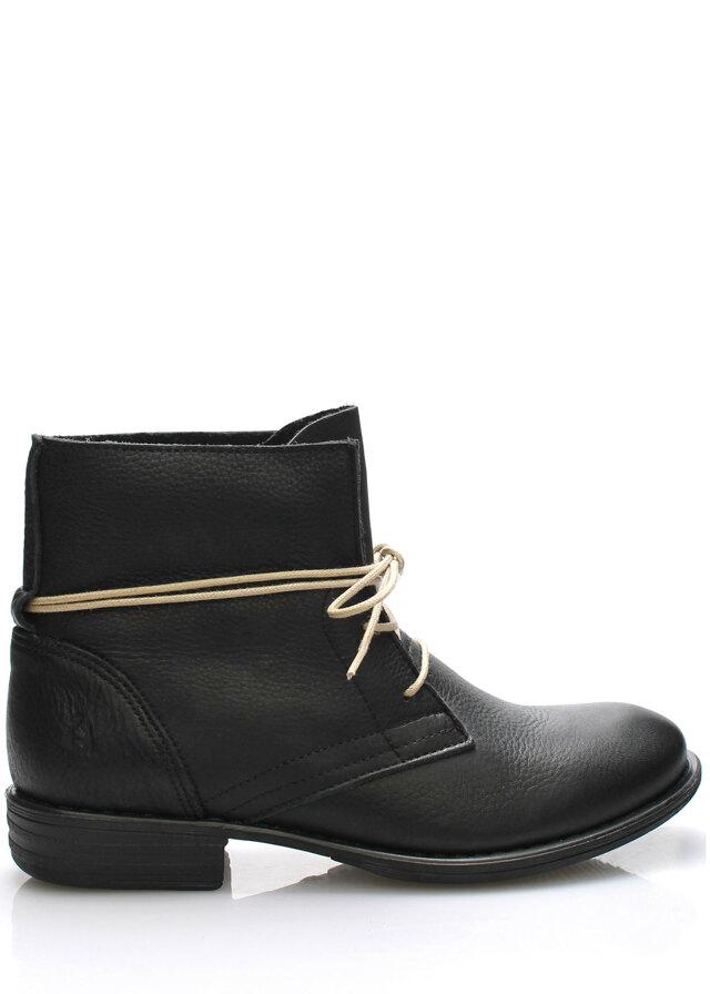 Černé kožené boty s tkaničkami Online Shoes