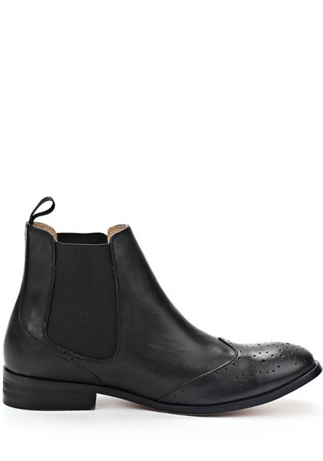 Černé kožené boty pérka s dírkováním Laceys