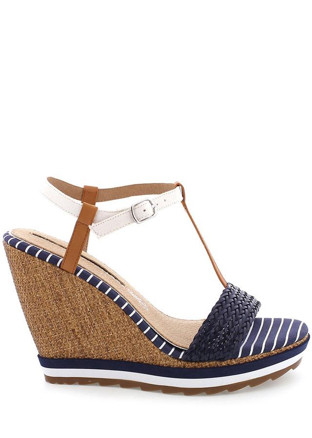 Modré sandály na klínku MARIA MARE