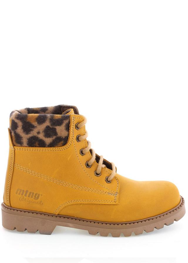 Boty farmářky z pravé kůže s leopardím lemem MTNG - 38