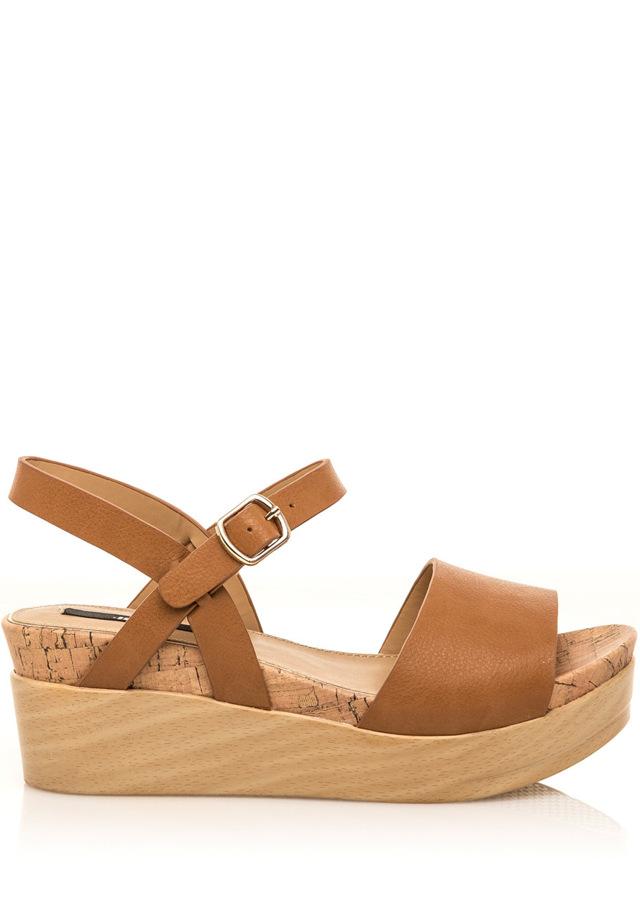 Hnědé letní sandály na dřevěné platformě MTNG a8f3db4272